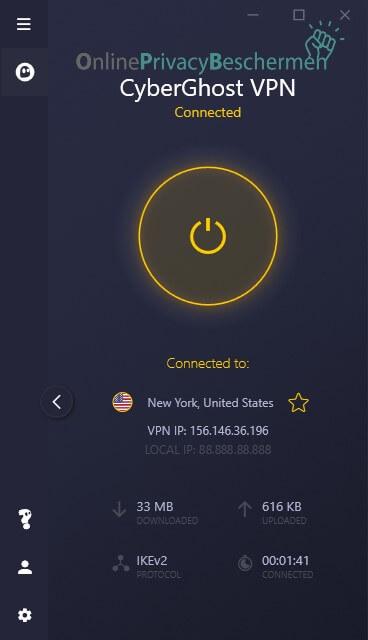 Cyberghost VPN beginscherm verbinding met netwerk Online pirvacy beschermen